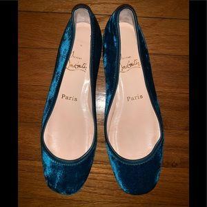 Christian Louboutin Velvet blue flats 37.5 7.5 US